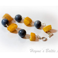 Bracelet of raw yellow Baltic amber and blue by HeymesBalticAmber