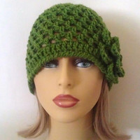 Green Beanie Hat, Flower Hat, Crochet