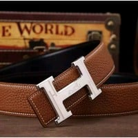 *** Hermes Classic Men's 38MM Reversible Brown Belt 110cm Size 40-42 $