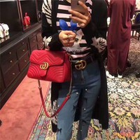 HCXX 19Oct 022 Gucci Marmont Wave GG Lock Crossbody Handle Fashion Chain Shoulder Flap Baguette Bag Size 24