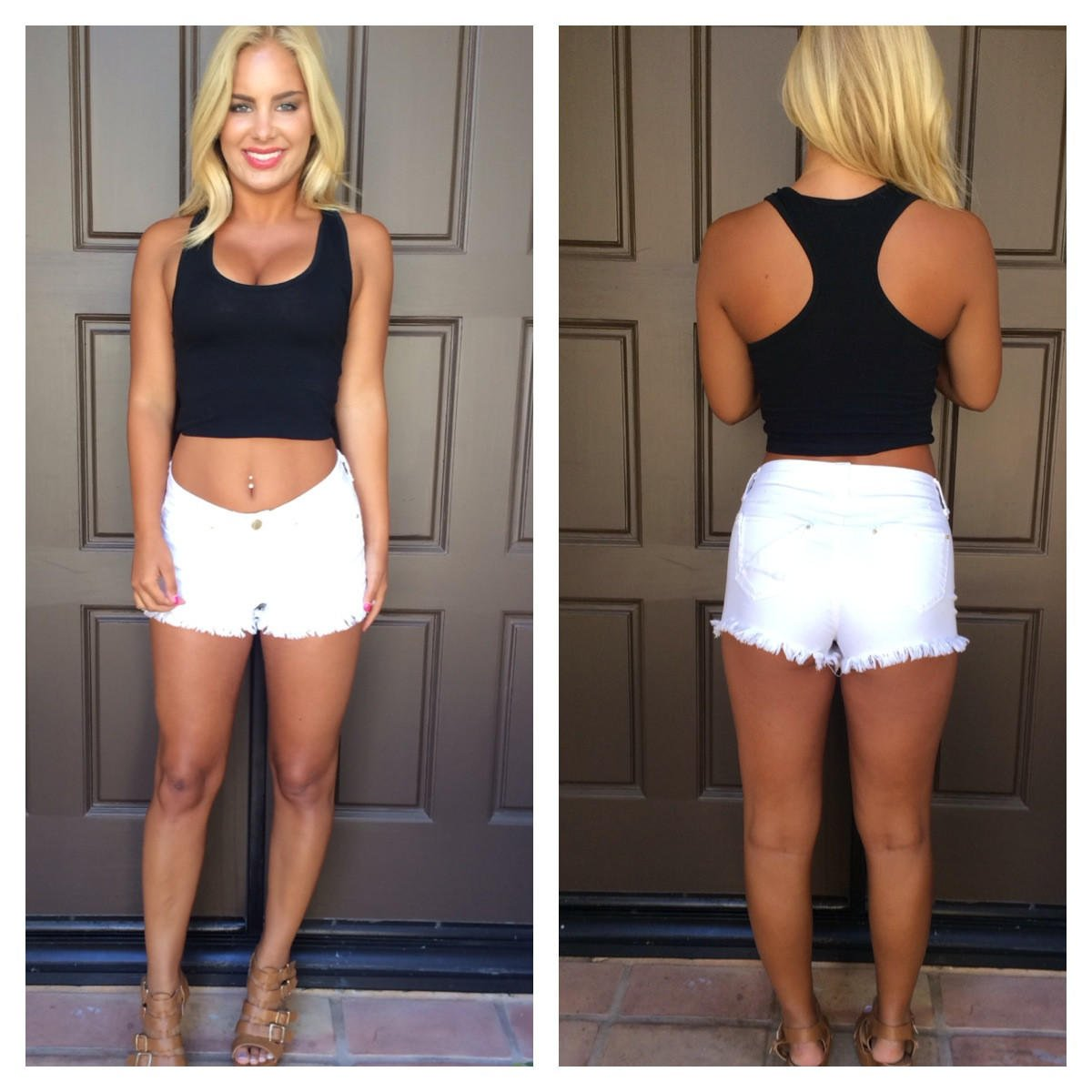 Image of Late Night Racer Back Crop Top - BLACK
