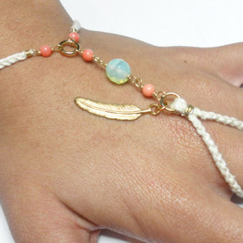White cord braided friendship ring bracelets handpiece - gold plated feather wire coral beads sea foam free people inspired