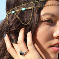 Bronze Beaded Tassel Double Chain Hair Crown