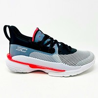 Under Armour Curry 7 UNDRTD Black Red Youth Size 4.5 GS 3022113 100