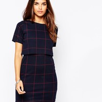 Daisy Street Dress In Grid Print With Overlay Top