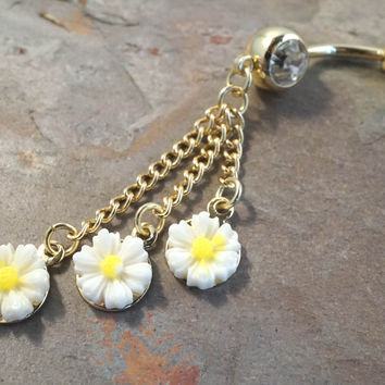 White Daisy Flower Belly Button Jewelry Ring Piercing