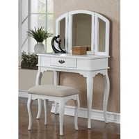 3 pc White finish wood make up bedroom vanity set with curved legs stool and tri fold mirror