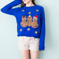 Blue Embroidered Cat Christmas Sweater