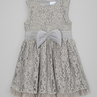 Gray Lace Bow A-Line Dress - Toddler & Girls
