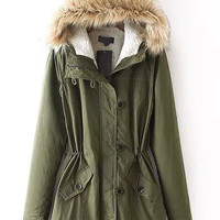 Army Green Faux Fur Hood Buttoned Coat