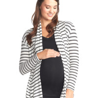 Lexa Maternity Wrap in Charcoal Stripe