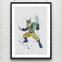 Wolverine Watercolor Print, Marvel Superhero Watercolor Poster, Boys Room Wall Art, Home Decor, Not Framed, Buy 2 Get 1 Free! [No. 114]