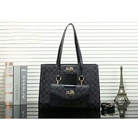 Coach Popular Women Shopping Bag Leather Satchel Handbag Tote Shoulder Bag Two Piece Set Black I-OM-NBPF