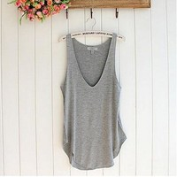 female tops Fashion women's T-shirts Lady Sleeveless V-Neck Candy Vest Loose Tank Tops T-shirts for women