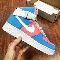 Samplefine2 Nike Air Force 1 AF1 Fashion Women Men Casual High Help Basketball Sports Shoes Sneakers Blue&Pink