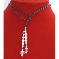White Pearls Clear Crystals Lariat Necklace Genuine Swarovski Crystals Pearls  Free Shipping
