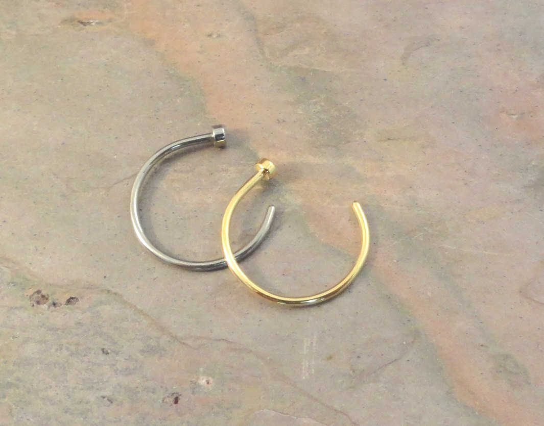 Image of 2 Nose Hoops - Silver and Gold Nose Hoop Rings