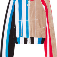 Off-White - Striped printed cotton-terry hooded top
