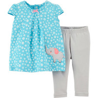 Walmart: Child of Mine by Carter's Newborn Girl Cap Sleeve Top and Leggings Outfit Set