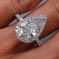 4.27ct E-SI2 Pear Shape Diamond Engagement Ring 18kt White Gold JEWELFORME BLUE 900,000 GIA  certified Diamonds