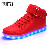 [YARITZA] 2016 Hot Men&Women Shoes LED Shoes Luminous Casual Shoe USB Charging Light Up Shoes For Adults Black& White Size 35-46