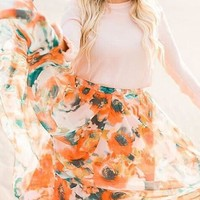 Orange Sunflower Print Grenadine Draped Flowy High Waisted Bohemian Las Vegas Skirt