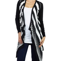 LE3NO Womens Lightweight Asymmetrical  Open Cardigan with Stripe Pattern (CLEARANCE)