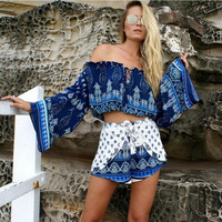 Blue Vintage Print Off the Shoulder Bell Sleeve Crop Top with Drawstring Waist Short