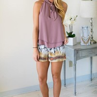 Magical Mauve Tie Neck Sleeveless Top