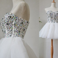 Princess Strapess Sweetheart-neck Beaded Bodice White Tulle Cocktail Dresses/Short Prom Dresses