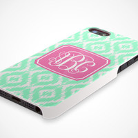 iPhone 5 Cell Phone Case Custom Color Ikat Damask Initials Monogram Apple Sorority Personalized Protective White Plastic Hard Cover VM-1060