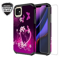 Apple iPhone 11 , iPhone 11, [Include Temper Glass Screen Protector] Slim Hybrid Dual Layer [Shock Resistant] Case for iPhone 11 - Heart Butterflies