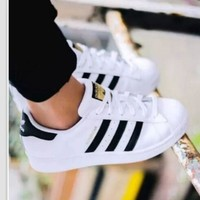 Tagre™ Adidas Fashion Shell-toe Flats Sneakers Sport Shoes White Black Golden For women