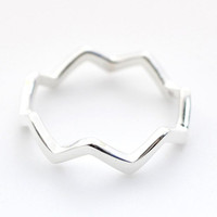 925 Sterling Silver Simple ZigZag Wave Pattern Ring- geometric zigzag jewelry