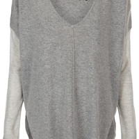 Knitted Sheer Panel V-Neck Top - Knitwear - Clothing - Topshop USA