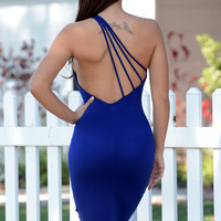 Blue One Shoulder Strappy Backless Midi Bodycon Dress