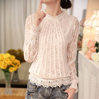 2016 New Summer Ladies White Blusas Women's Long Sleeve Chiffon Lace Crochet Tops Blouses Women Clothing Feminine Blouse 51C