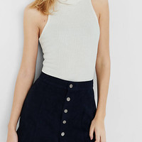 Navy Button Front Faux Suede A-line Skirt from EXPRESS