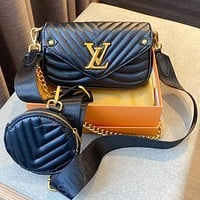 LV 2020 new three-in-one Mahjong bag coin purse, large-capacity bag, woven shoulder strap Messenger bag black