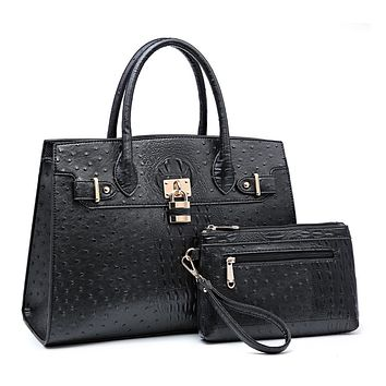 BLACK FAUX OSTRICH ALLIGATOR FUSION HANDBAG & WRISTLET
