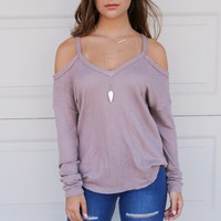 Treat You Better Taupe Knit Cold Shoulder Top