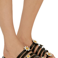 Victoria Floral-Embellished Leather Slides | Moda Operandi