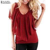 Women 2017 Summer Blusas Sexy Off Shoulder V Neck Splicing Chiffon Solid Blouses Shirts Fashion Plus Size Tee Tops
