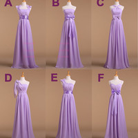 ABCDEF Six Style Bow Long Bridesmaid Dresses/Cheap Bridesmaid Dresses/Chiffon Bridesmaid Dresses/Dress for Prom/Purple Bridesmaid Dress/X161