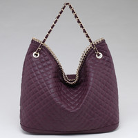 Large Luxurious Style Quilted Hobo w/ Intertwined Chain Straps - Purple Color: Purple