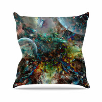 "Shirlei Patricia Muniz ""Space"" Blue Abstract Throw Pillow"