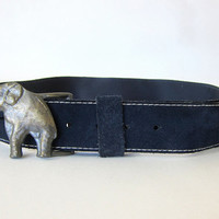 20% OFF SALE Vintage metal elephant Belt Buckle and blue belt / size 36