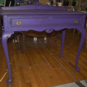 Purple Desk / Desk / Painted / Shabby Chic / Upcycled / Repurposed / Distressed / Vanity / Cottage Chic / Accent Table / Entry way table