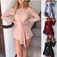 2017 Women Slim Overalls Rompers Elegant Off Shoulder Velvet Jumpsuit Casual Long Pants Ladies Jumpsuits Romper 5 Colors GV442