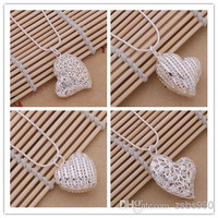 Fashion jewelry for women 925 silver plated hollow heart pendant necklace Valentine's Day Gift Free shipping mix order 12pcs/lot